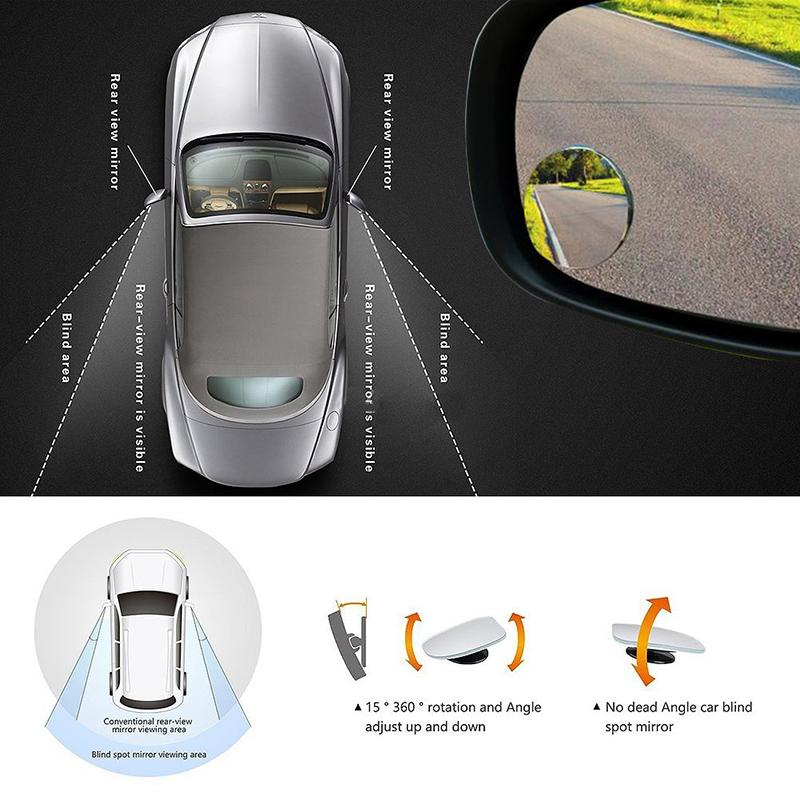 2pcs Car Rearview Mirror Blind Spot Side Rear View Convex