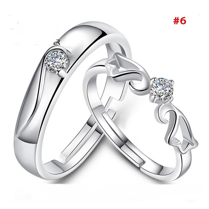 1 pair 925 silver plated promise rings