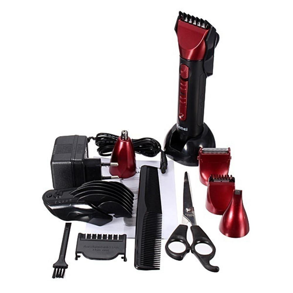 kemei brand 230v 5 in 1 ipx 7s waterproof trimmer red color barber salon hair cut cutting set. Black Bedroom Furniture Sets. Home Design Ideas