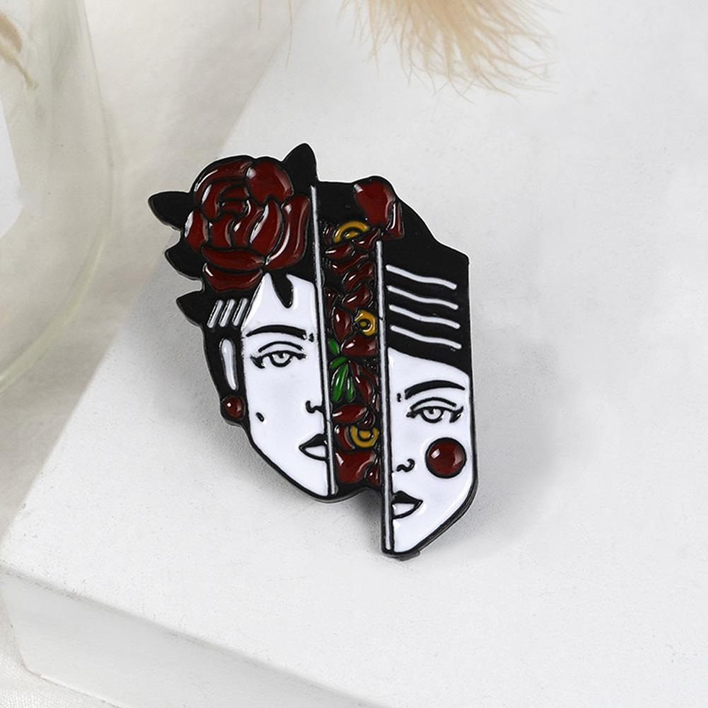 Original Red Rose Floral Portrait Brooch Pins Badges Brooches Enamel
