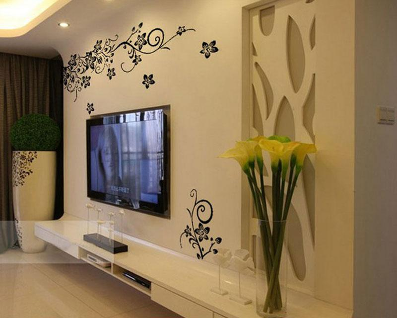 Decor Black Wall Paper : Buyincoins hot diy black vine flowers removable wall