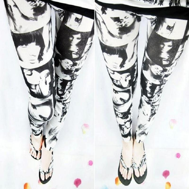 Women's Beauty poster Leopard Camouflage Printed Stretch Skinny Leggings Pants