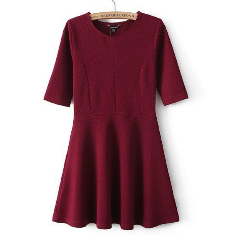 Fashion Women Retro Solid Loose Fifth Sleeve Dress Short Dress RT