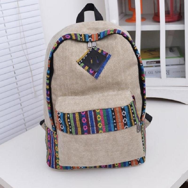 Fashion Woman Canvas Nice Print Casual New Hot All-match Backpack