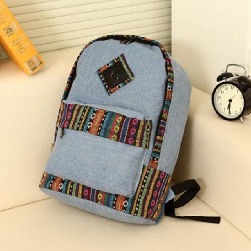 Fashion Woman Canvas Nice Print Casual New Hot All-match Backpack HK