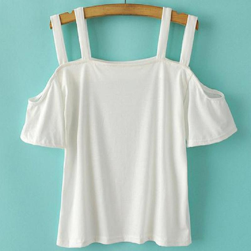 Woman Nice Lovely Pure Color Strapless Double Baldric Short Tee T-shirt Top