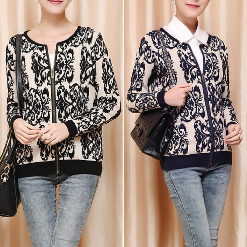 Woman China Pattern Round Neck Knit Pullover with Zipper Cardigan Sweater
