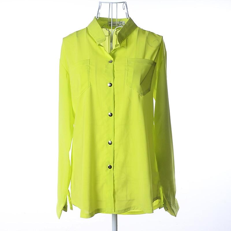 Casual Oversized Loose Lapel Long Sleeve Chiffon Top with Pockets Blouse