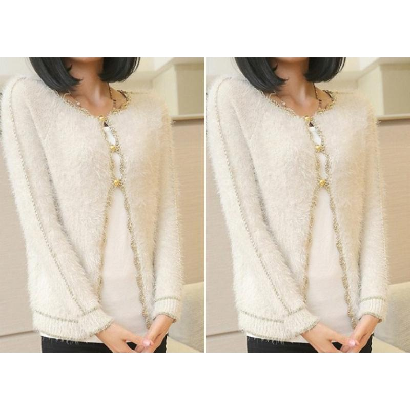 Groomed Slim Mohair Three Buttons Knit Floral Hem Sweater Outwear Cardigan