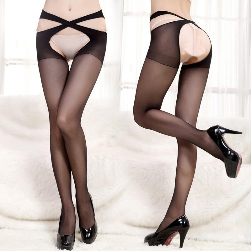 Women Cross Belt New Crotchless Pantyhose Stocking Tights Lingerie Nightwear