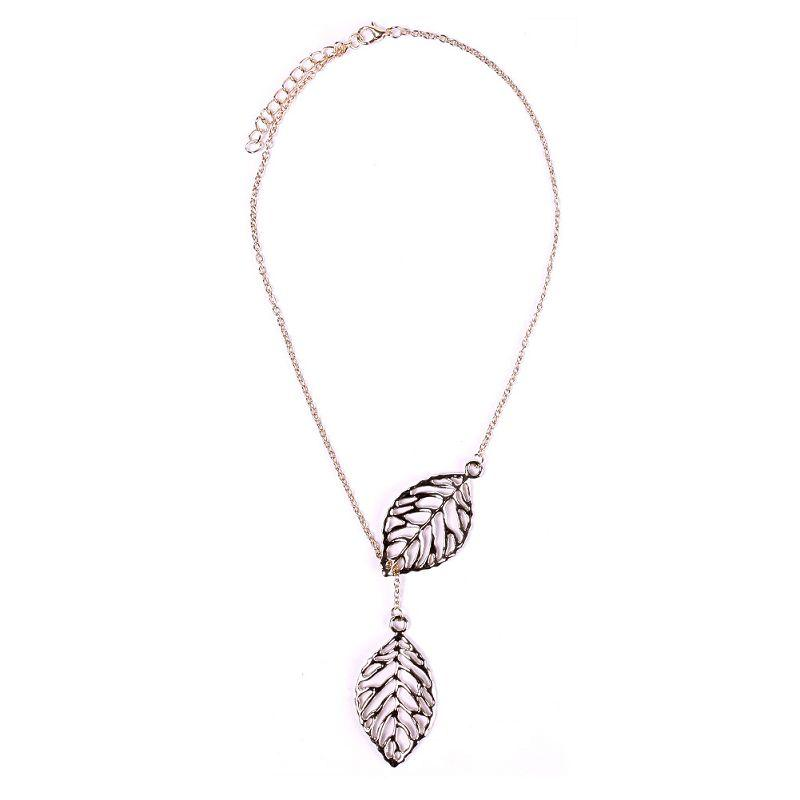 Trendy Double Leaves Silver Gold Plated Long Chain Women Necklace Xmas Present