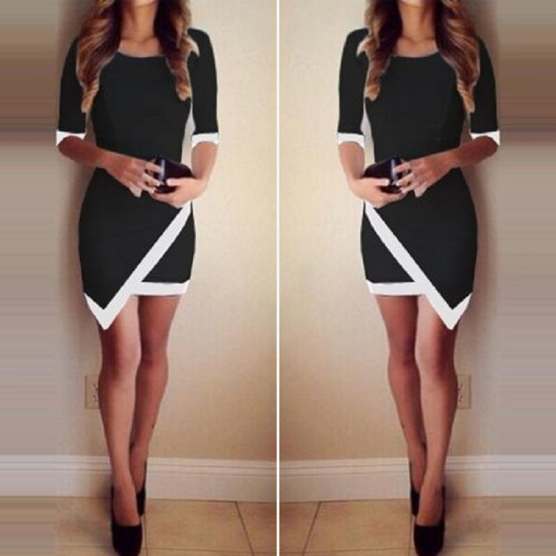 Fresh Refinement Black White Bandage Asymmetric Evening Party Cocktail Dress