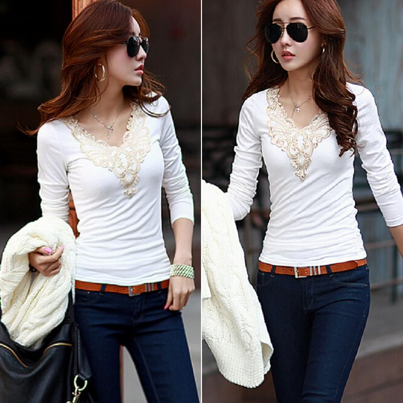 Women V-neck Casual Ladies T-Shirt Top Stretch Bottoming Shirt Blouse
