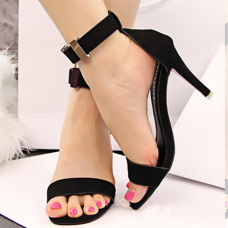 Lady OL Ankle Strap Suede Metal Buckle Women Shoes High Heels Sandals SFST