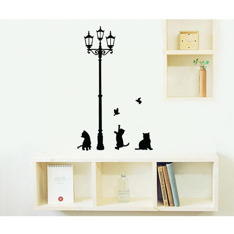 Cute Black Wall Decor : Buyincoins fan vintage street lamp cute black cats