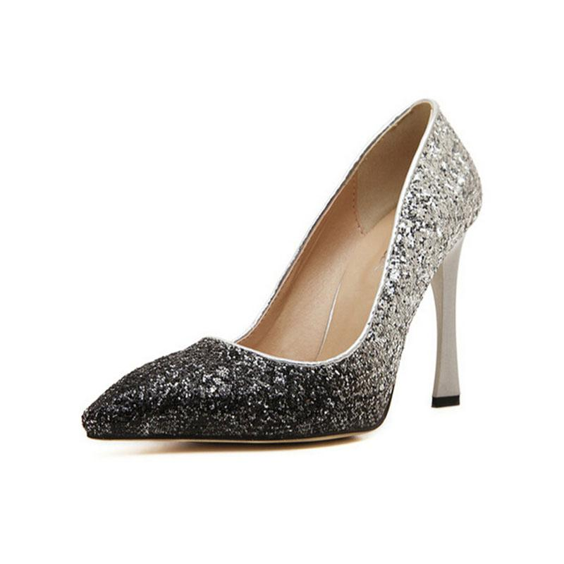 womens glitter pointed toe color changing high heels