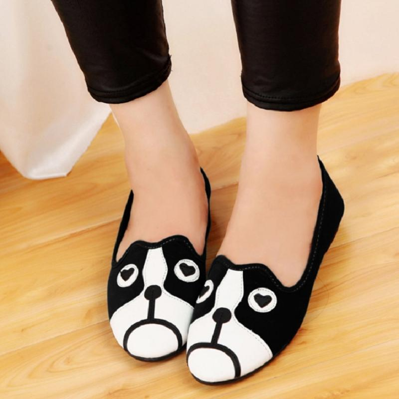 Casual Woman Cartoon Cat  Dog Cute Pattern Women Loafers Flat Leather Shoes