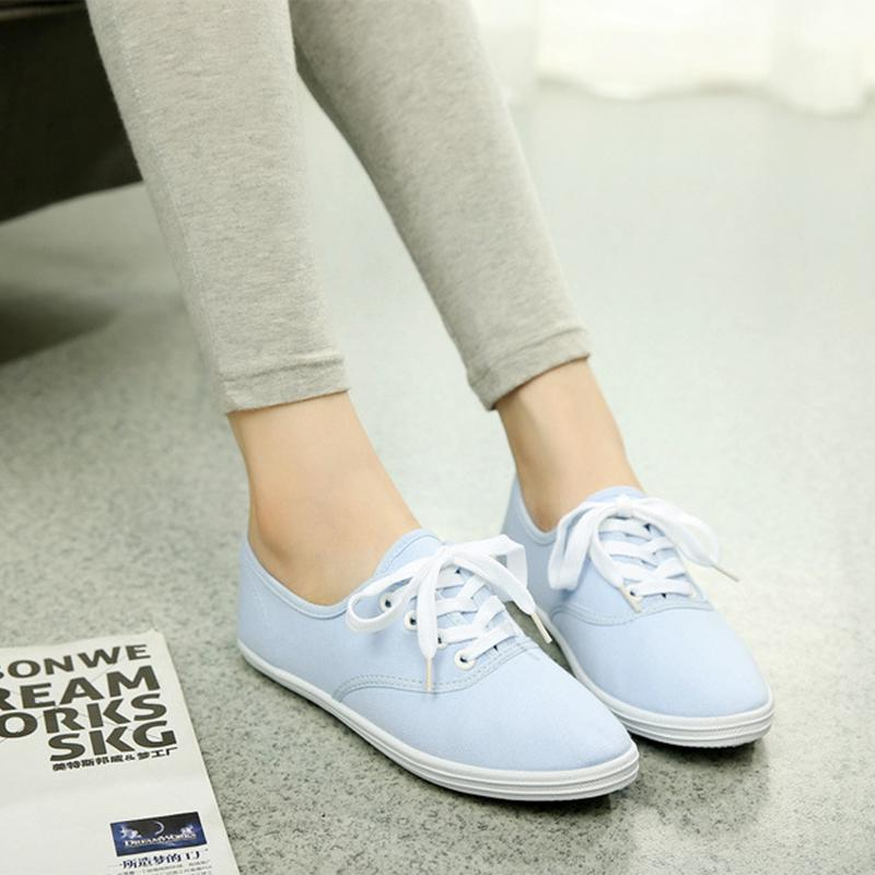 low breathable sneakers flat canvas