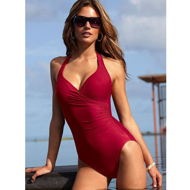 Women One piece Beachwear Swimwear Dress Hot Exquisite Push-up Swimsuit KZAU