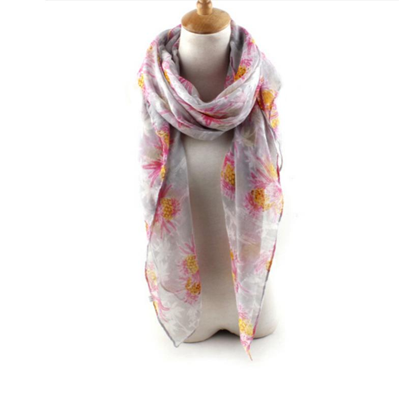 voile pineapple printed scarf shawl wrap large