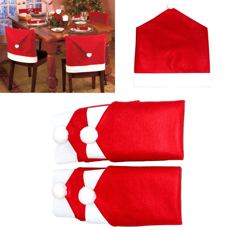 Cute Santa Claus Red Hat Chair Back Covers For Christmas