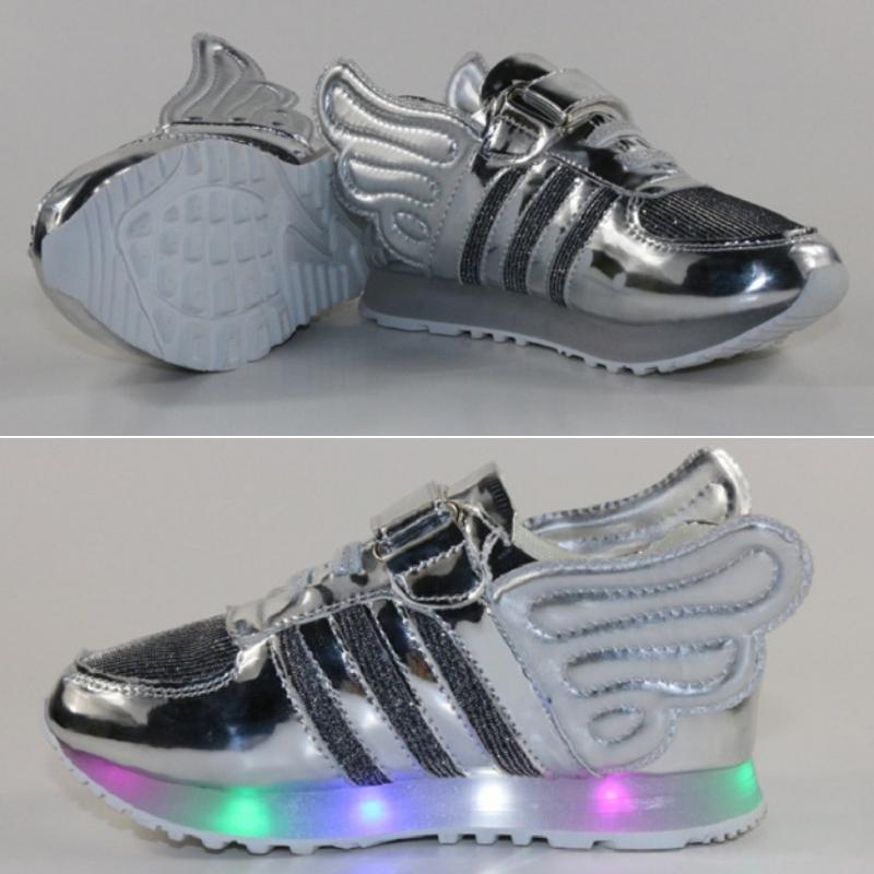 Unique Kids Child Sneakers Shine Angel Wings LED Light Leisure Running Shoes CA