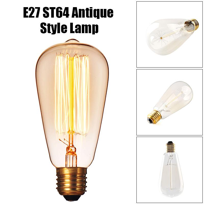 1/4/10Pcs E27 40W Retro Edison Filament Bulb ST64/T185/G80/G95/G125 Light Lamp