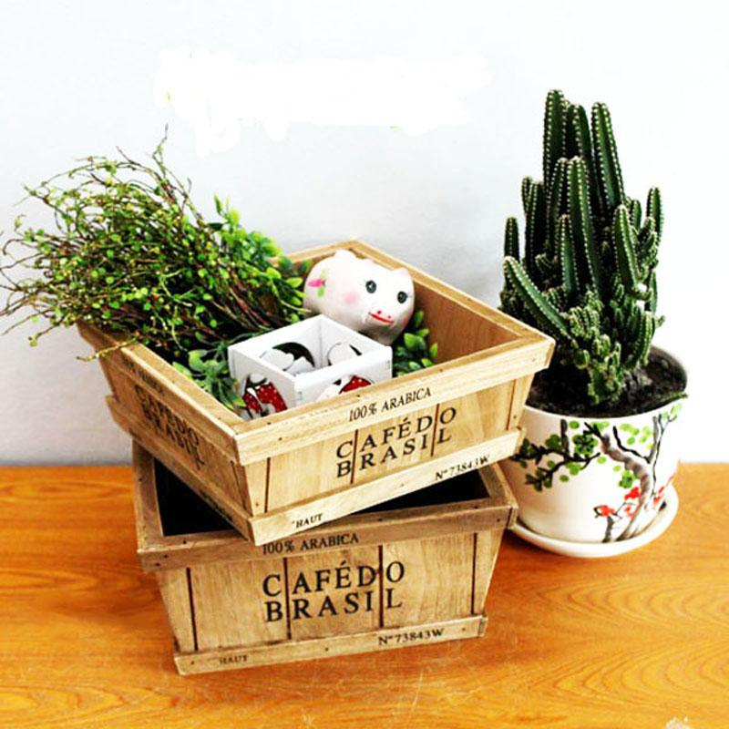 Vogue Wooden Storage Box Wood Logs Flower Pot Miscellaneously Sundries US HK