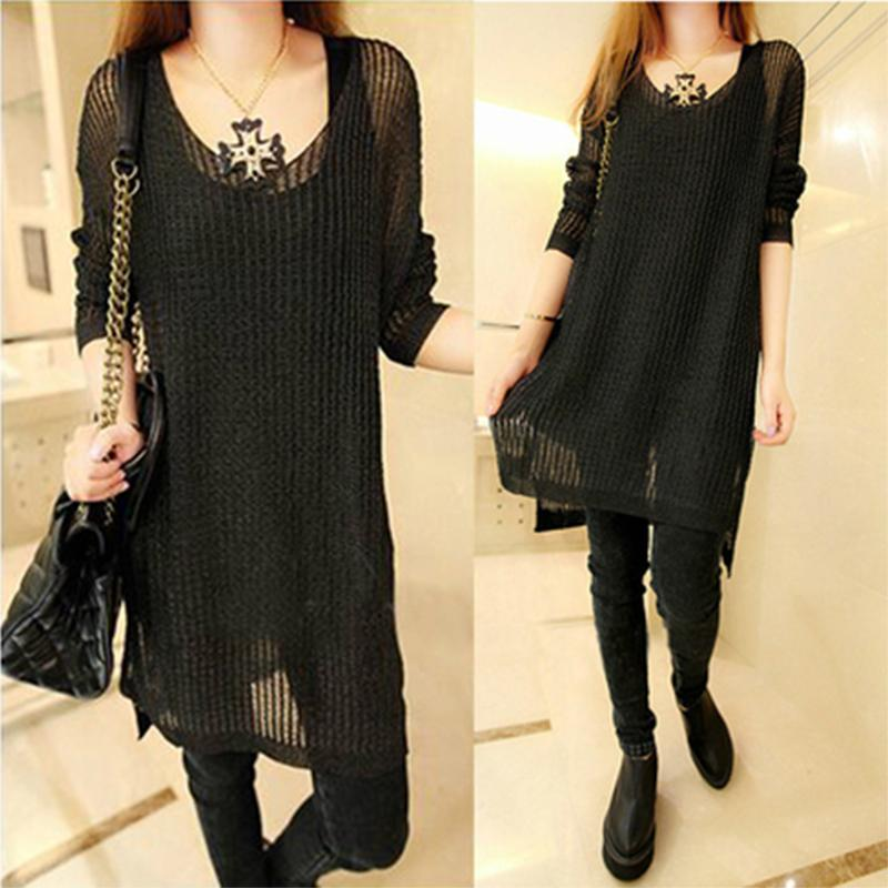 Fashion Women Casual Long Sleeve Pullover Hollow Out Tops Knitted Loose Dress