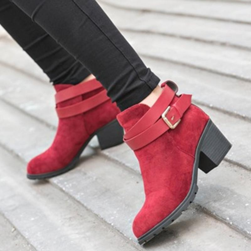 faux suede buckles chunky low heel ankle boots shoes