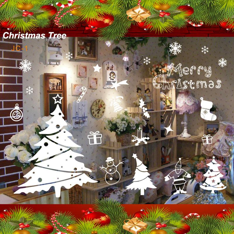 White christmas decals decor home removable mural glass for Christmas window mural