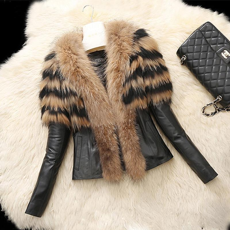 Women's Warm Fur Collar Coat Faux Leather Jacket Overcoat Parka Winter US