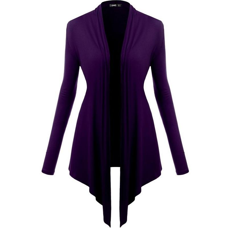 Women Classic Long Sleeve Knitted Cardigan Coat Outwear Loose Sweater Plain HF