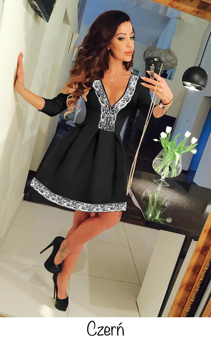 Sexy Women Deep V Neck Long Sleeve Evening Party Cocktail Lace Flared Dress CA