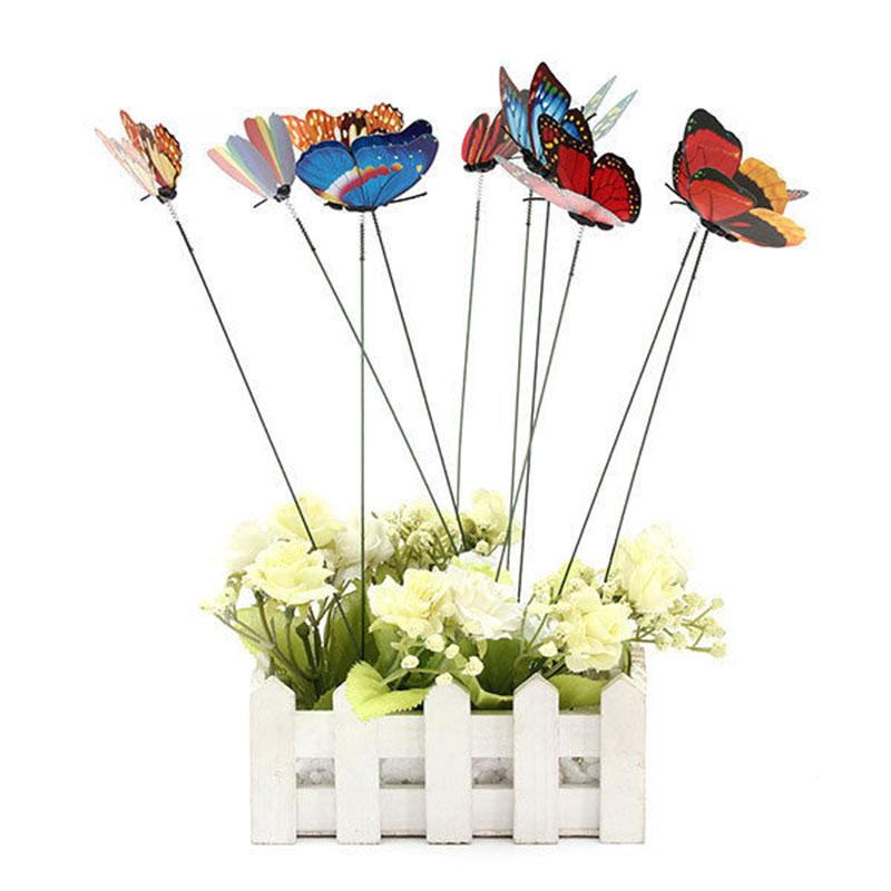 Pcs butterfly on sticks garden vase lawn craft art diy