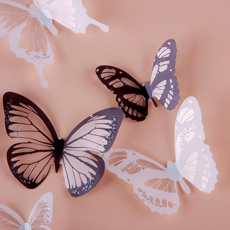 18pcs black white 3d butterfly sticker art design decal for 3d butterfly decoration