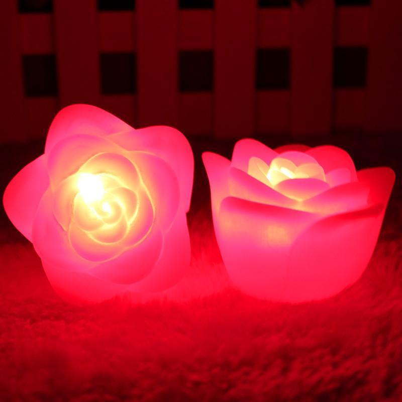 Pretty 7 color changing rose flower led night light for Color changing roses