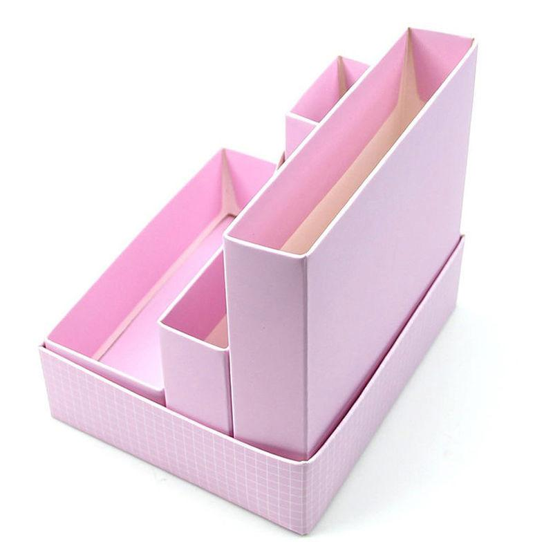 Diy paper board storage box desk decor stationery makeup - Desk makeup organizer ...