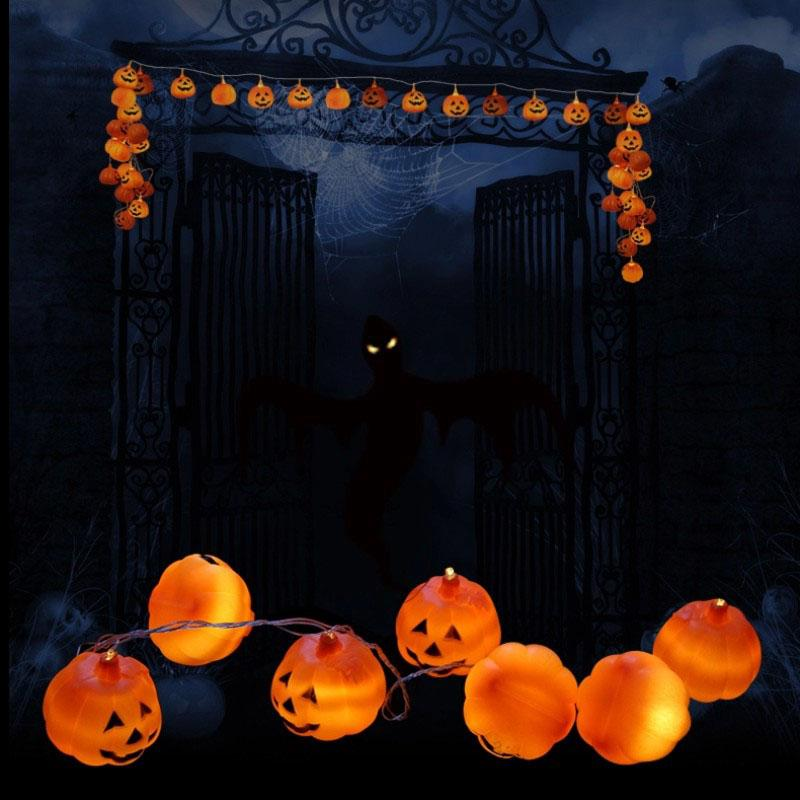 Halloween String Lights Outdoor : 20LED Halloween Party Pumpkin Lights String Fairy Night Lamp Outdoor Decoration