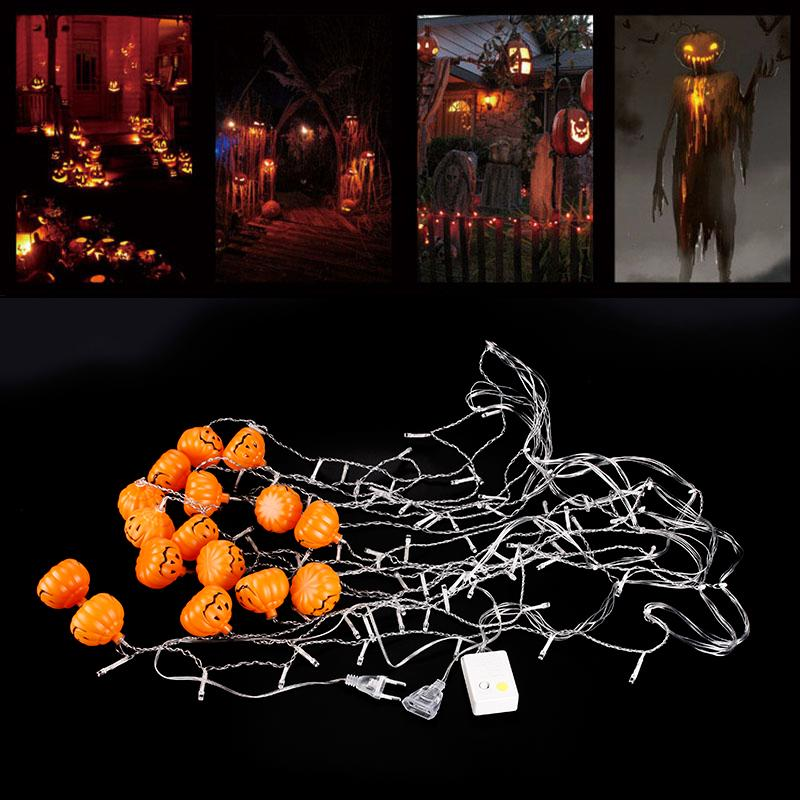 16 pumpkin skull halloween party led lights string unique for Unique outdoor halloween decorations