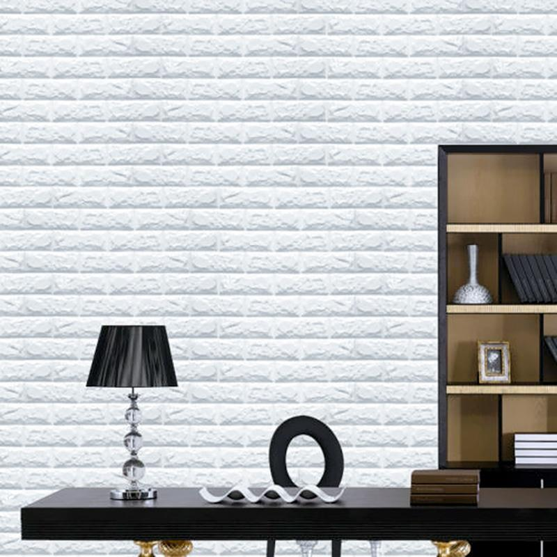 Newest 3d effect flexible stone brick wall viny wallpaper self adhesive for Home 3d wallpaper wallcovering