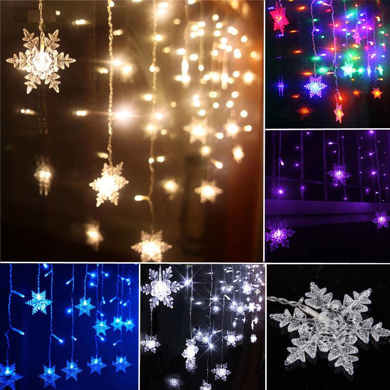 Electric Butterfly String Lights : 3.5M 96LEDs 16Snows Snowflake LED String Curtain Lights Holiday Xmas Wedding Christmas ...